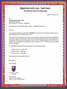Appreciation Letter The British School